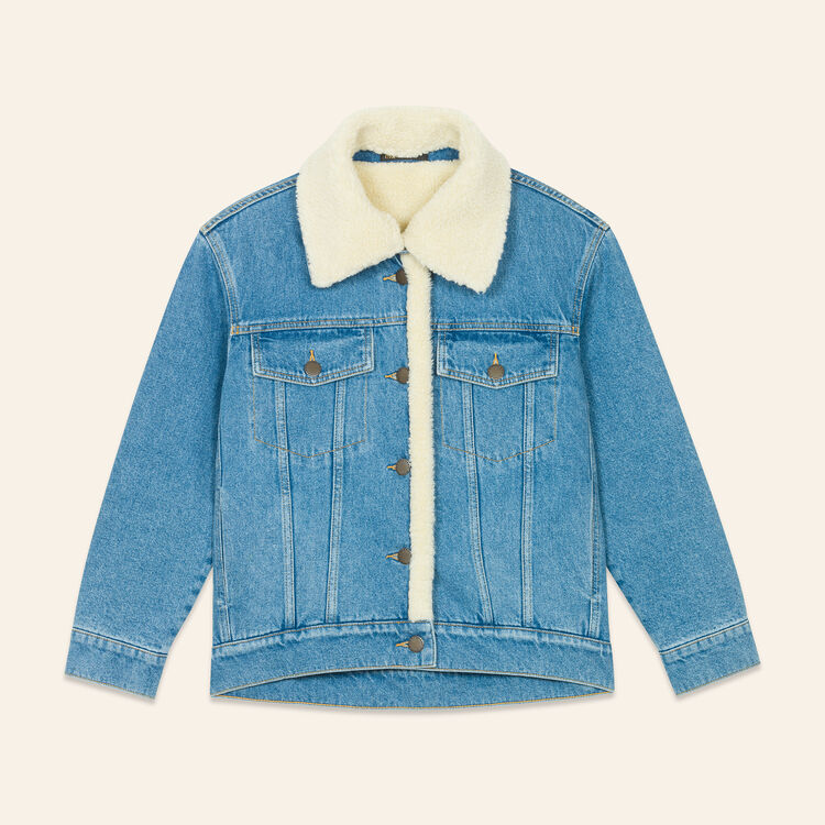 Denim jacket with sheepskin detail : Coats & Jackets color Denim