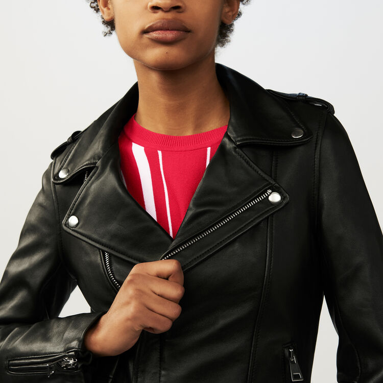 Belted biker jacket in puffed leather : The Essentials color Black 210