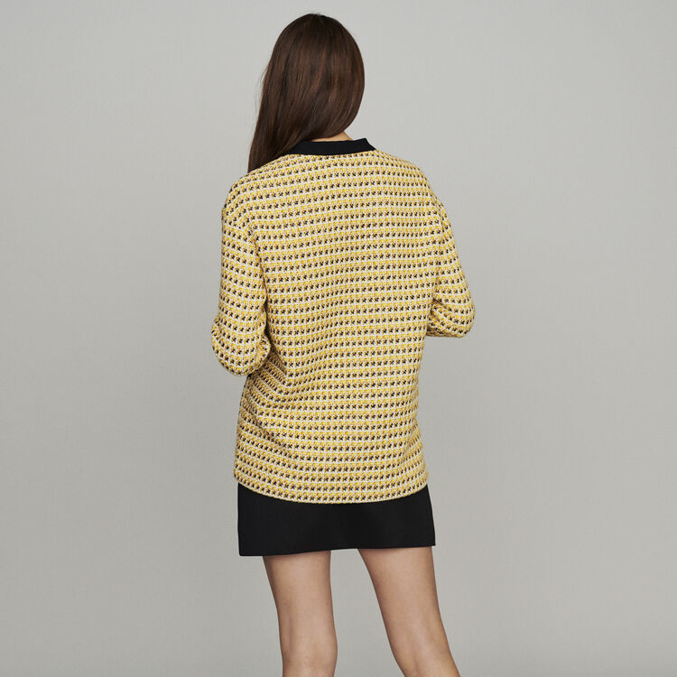 Jacket in tweed and lurex : Coats & Jackets color Yellow