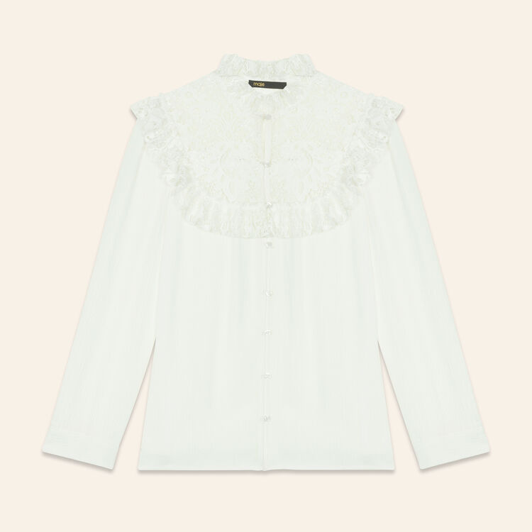 Blouse with lace insets on the chest : Tops & Shirts color Ecru