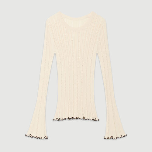 Sweater with pointelle knit : Sweaters color Off White
