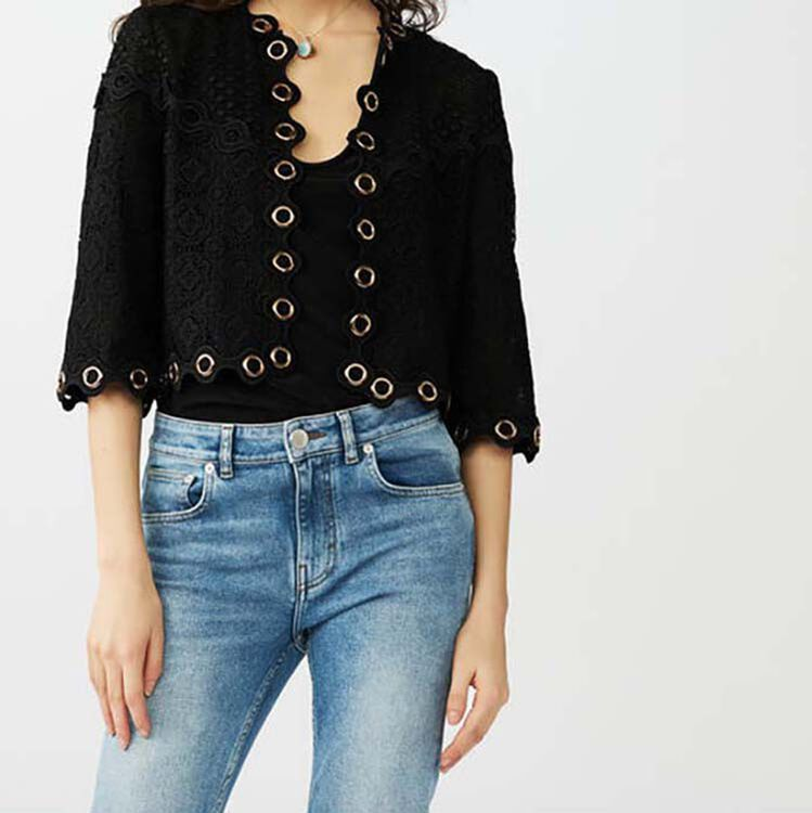 Guipure lace eyelet cardigan : Sweaters color Black 210