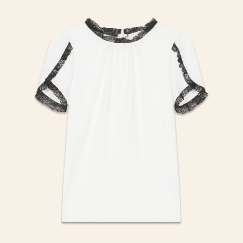 Crepe top with lace detail : Tops & T-Shirts color Ecru