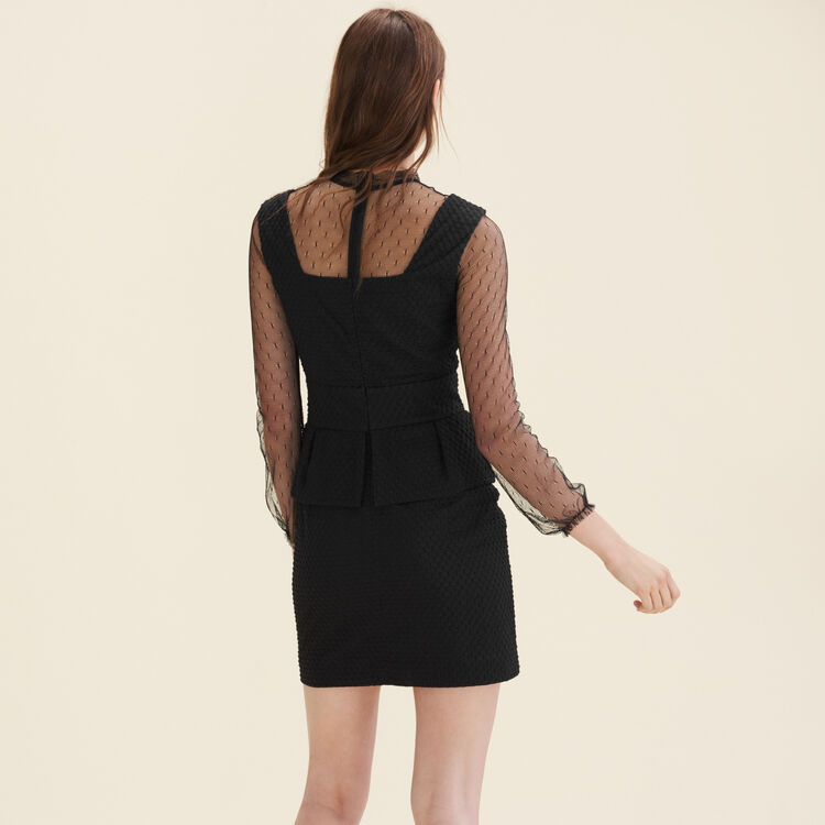 Dual-material dotted Swiss dress : Dresses color Black 210
