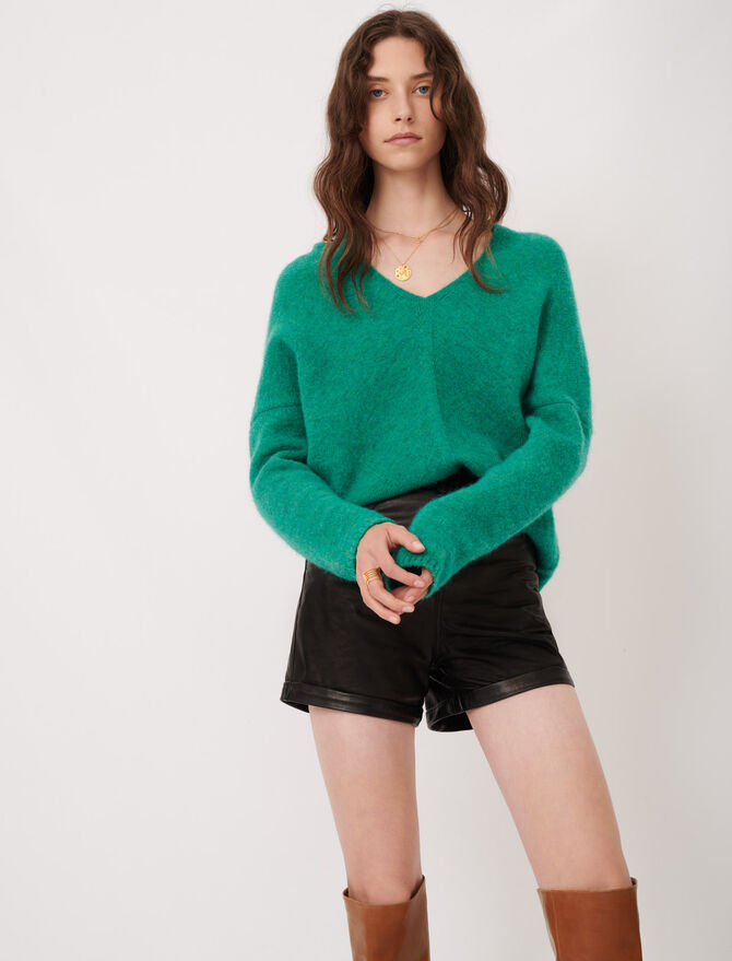V-neck marl sweater - Sweaters - MAJE