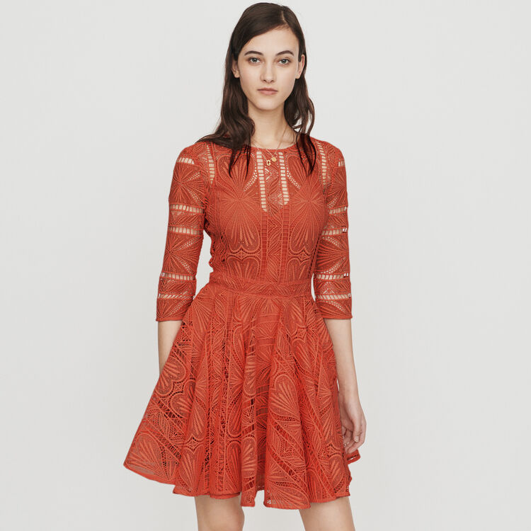 Short guipure lace dress : Dresses color Terracota