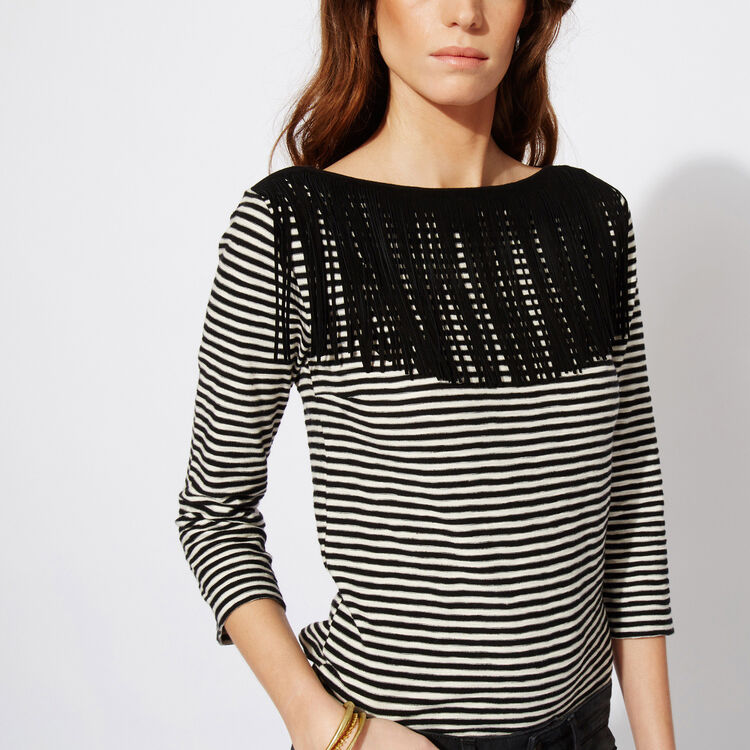 Linen Breton T-shirt with fringes : The Zoe Report color