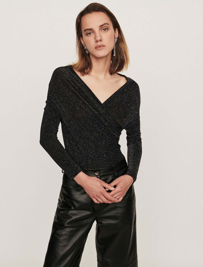 Lurex jersey long-sleeved bodysuit - T-Shirts - MAJE