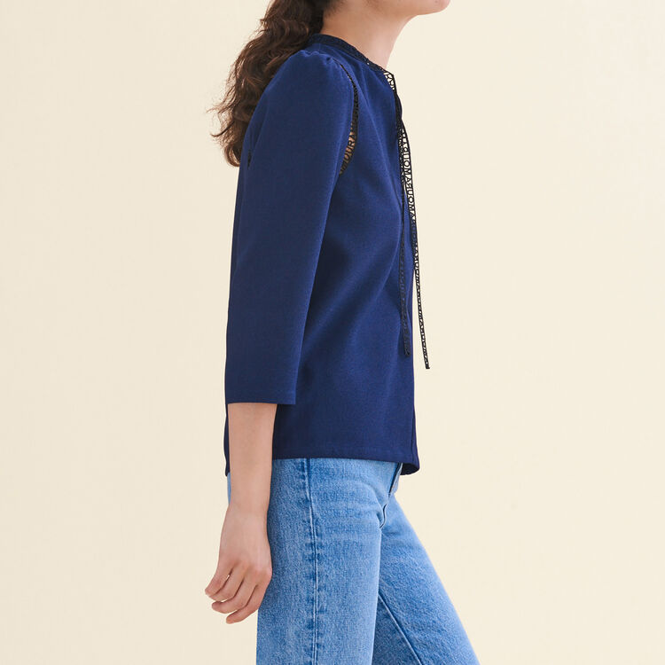 Blouse with braid trim : null color
