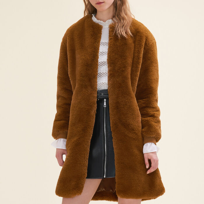 Faux fur coat : Coats & Jackets color Caramel