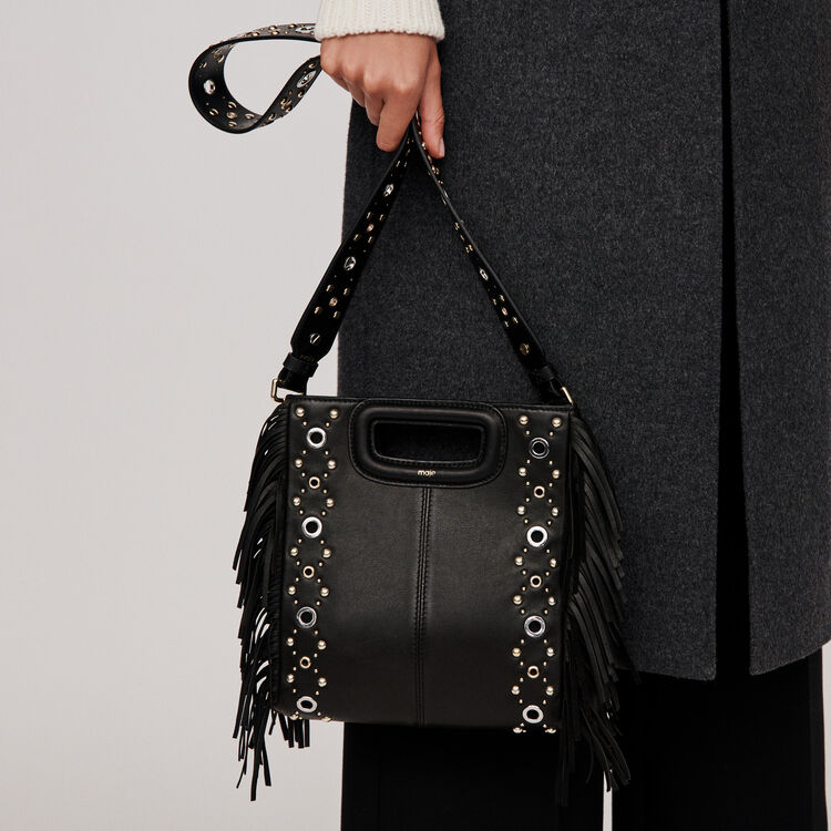 Leather M bag with eyelets : M Bags color Black