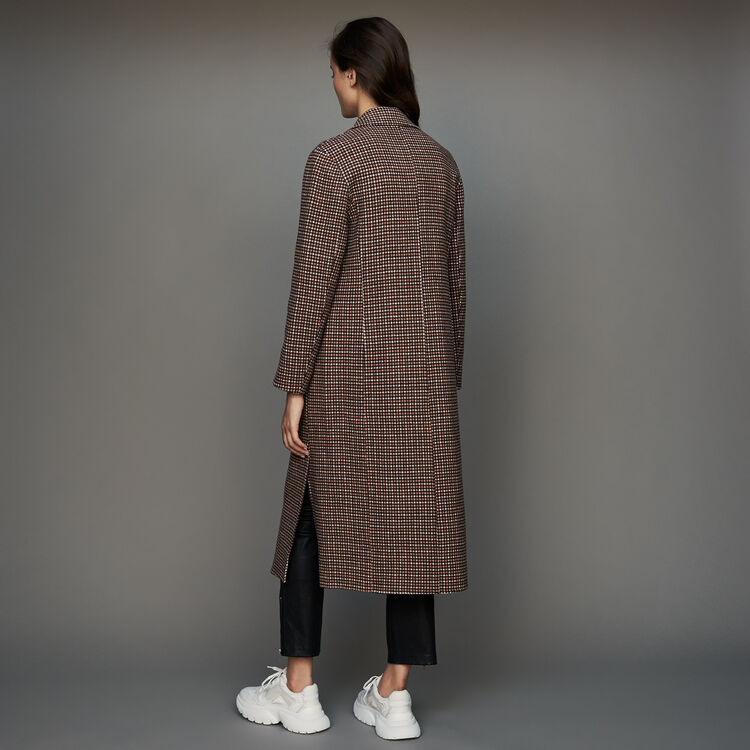 Double-face wool coat in houndstooth : Coats & Jackets color CARREAUX