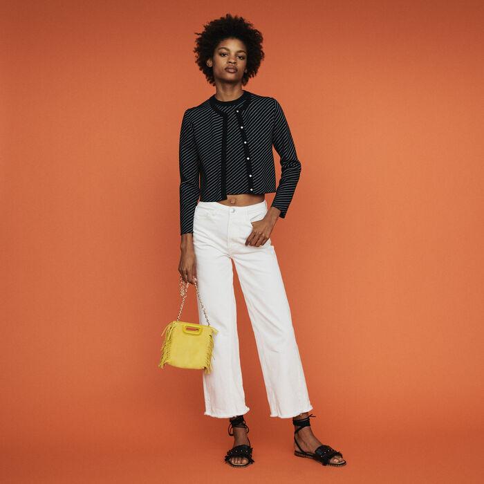 Cropped stripe cardigan : Sweaters color Stripe