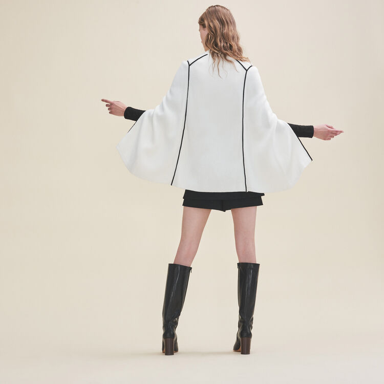 Knitted cape with contrasting details : Sweaters color White