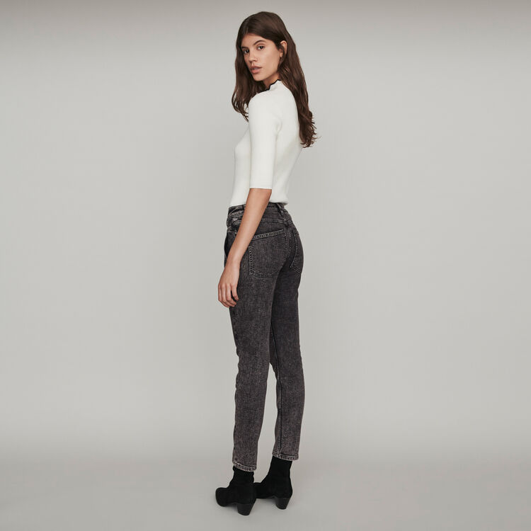 High-rise faded jeans : Pants & Jeans color Anthracite