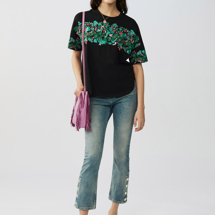 Oversized embroidered cotton t-shirt : Tops & Shirts color Black 210