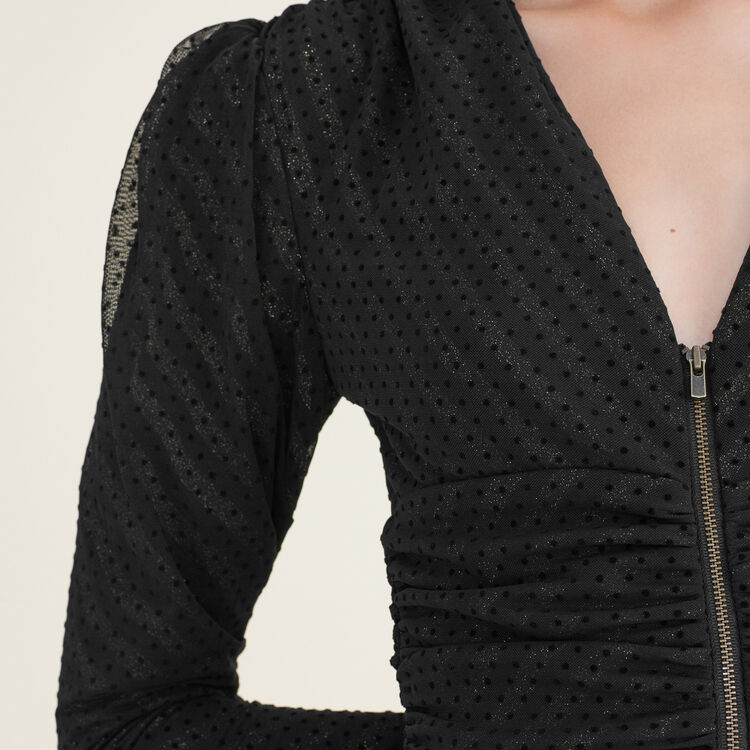 Short draped dress : Dresses color Black 210