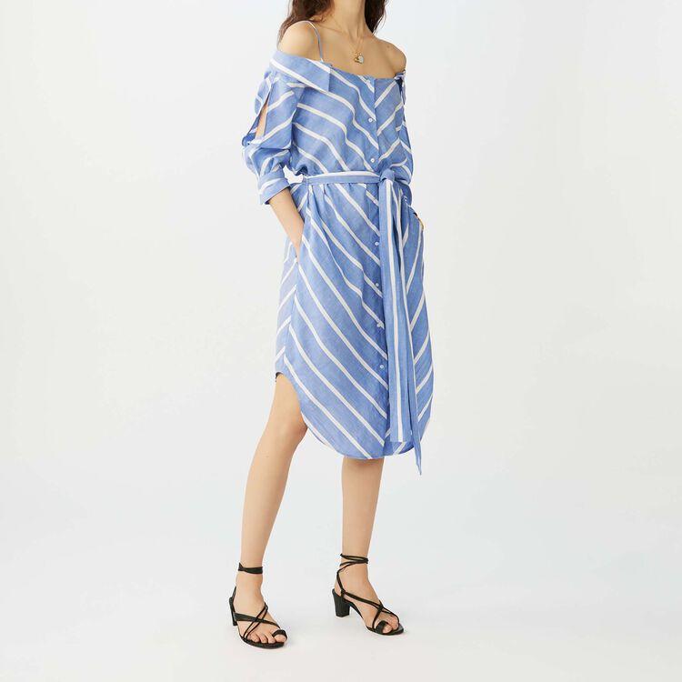 Striped cold-shoulder shirt dress : Dresses color Blue
