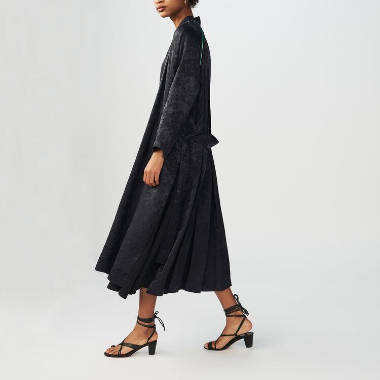 Long kimono-style jacquard jacket : Coats & Jackets color Black 210