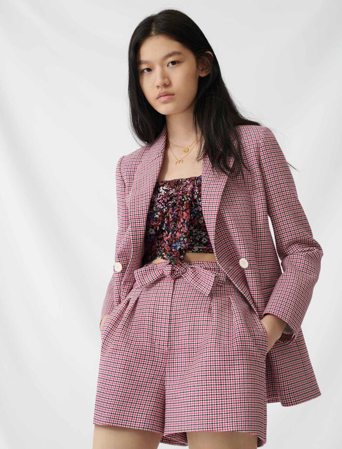 Checked straight double-breasted jacket - Coats & Jackets - MAJE