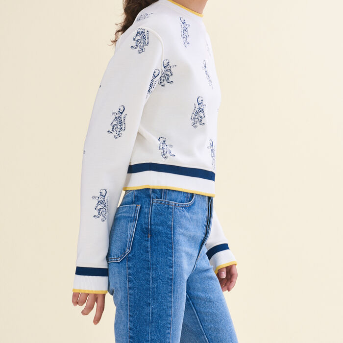 Short sweatshirt with tiger embroidery : Dresses color Ecru