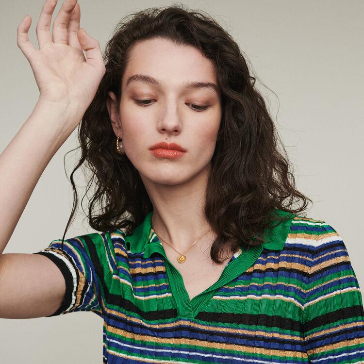 Striped knit polo : Sweaters color Multico