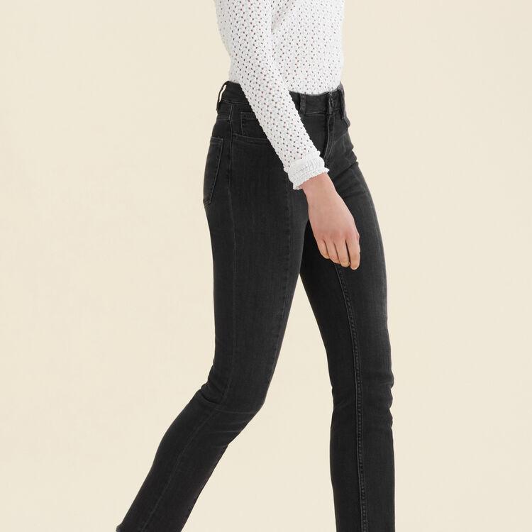 Straight-cut jeans with asymmetric hem : Pants & Jeans color Black 210