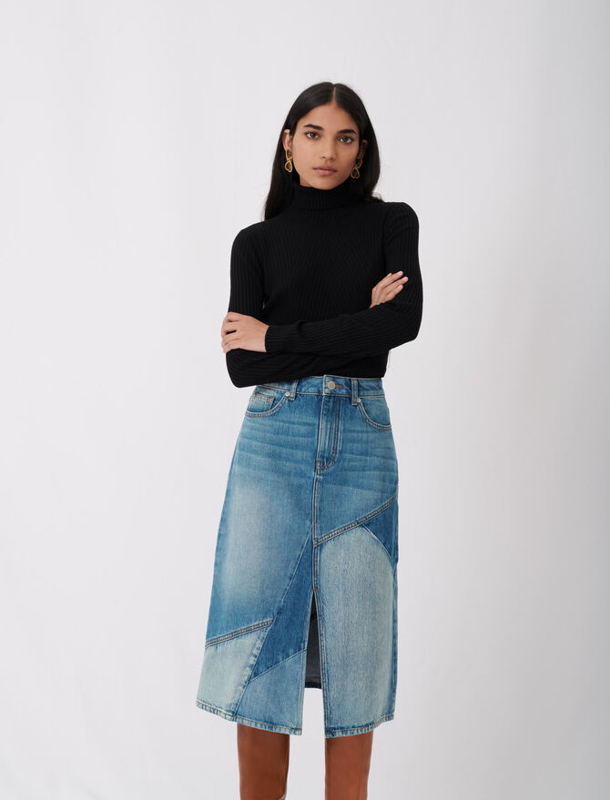 Fine ribbed sweater, stand-up collar - Sweaters - MAJE