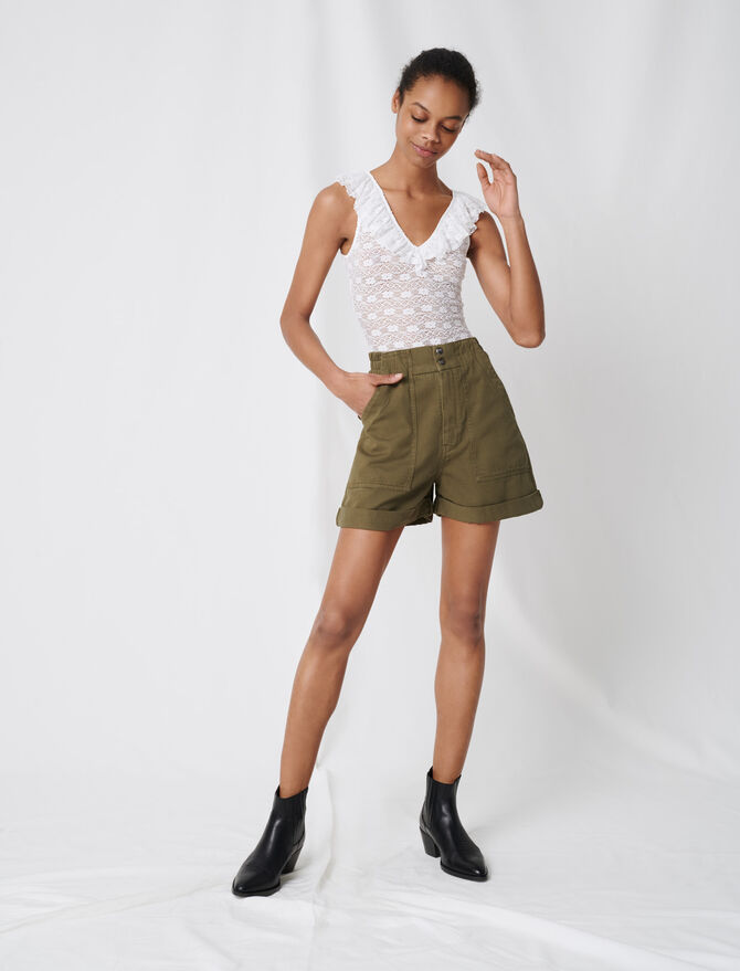 Khaki cotton canvas shorts - Sustainable Selection - MAJE