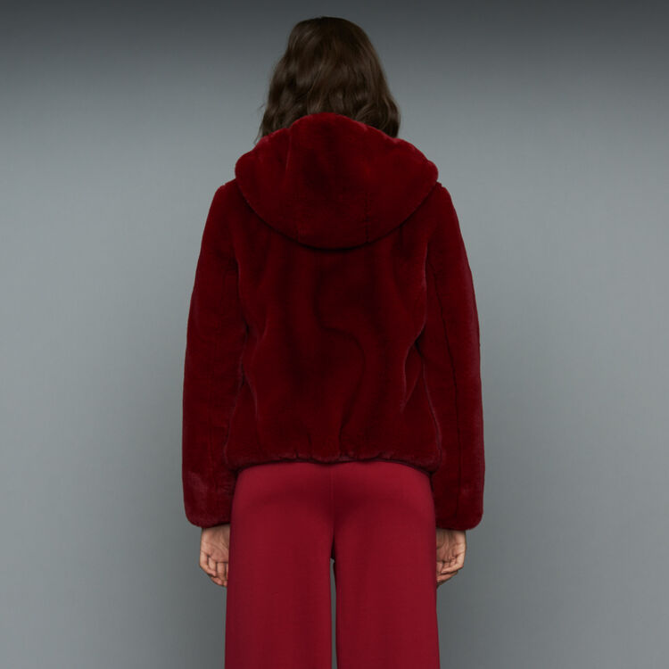 Cropped faux fur jacket : Coats & Jackets color Raspberry