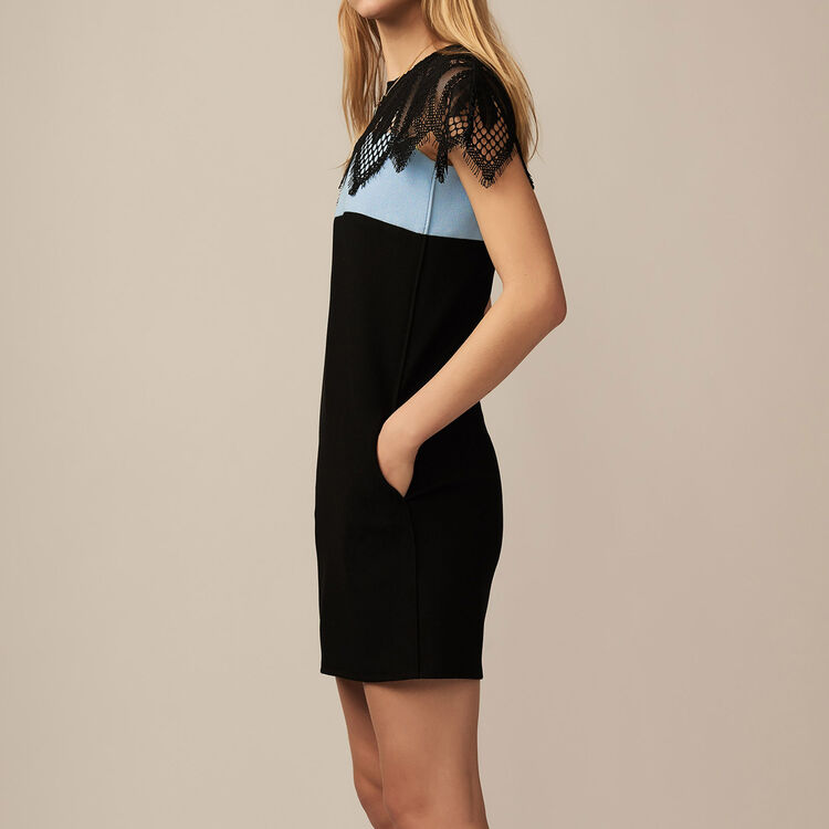 Tricolor dress with guipure lace : Dresses color BLUE/SKY BLUE