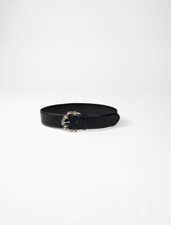 Wide leather belt with Berber buckle - Belts - MAJE