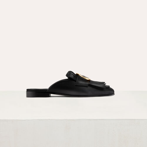 Leather Slip-On with buckle : Shoes color Black 210