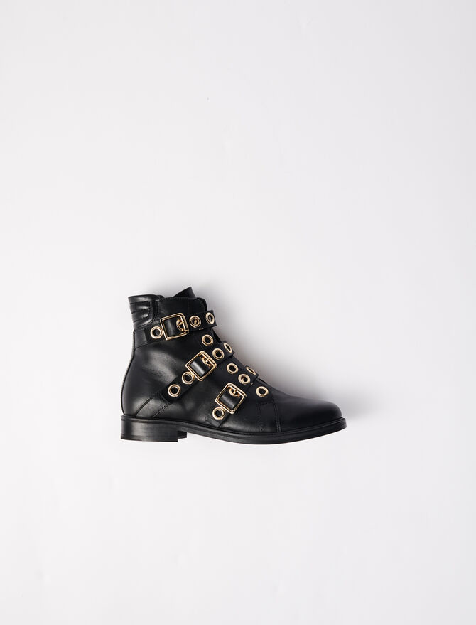 Multi-strap flat boots with eyelets - Boots - MAJE