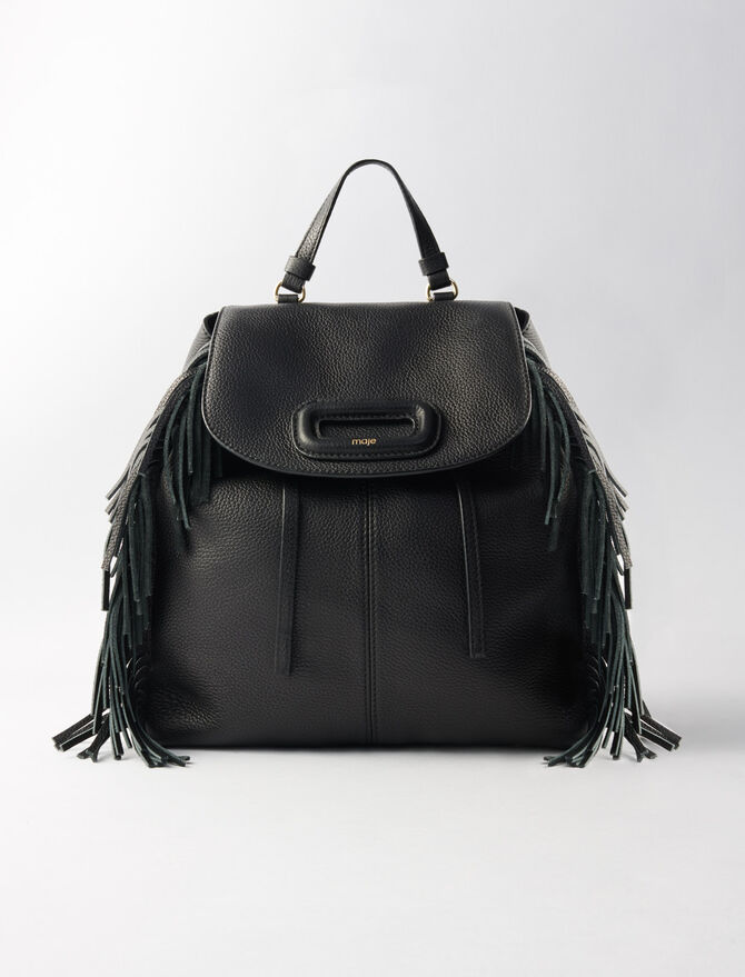 M leather backpack with chain -  - MAJE