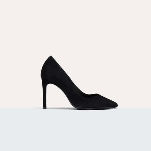High-heeled suede court shoes : Shoes color Black 210