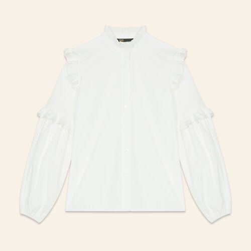 Poplin shirt with frills : Tops & T-Shirts color White