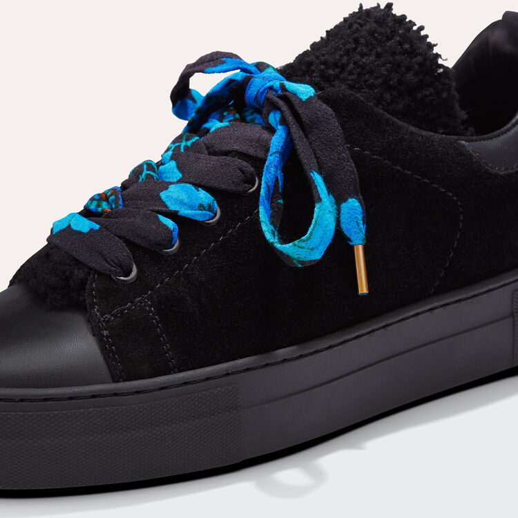 Dual-material leather trainers : Shoes color Black 210