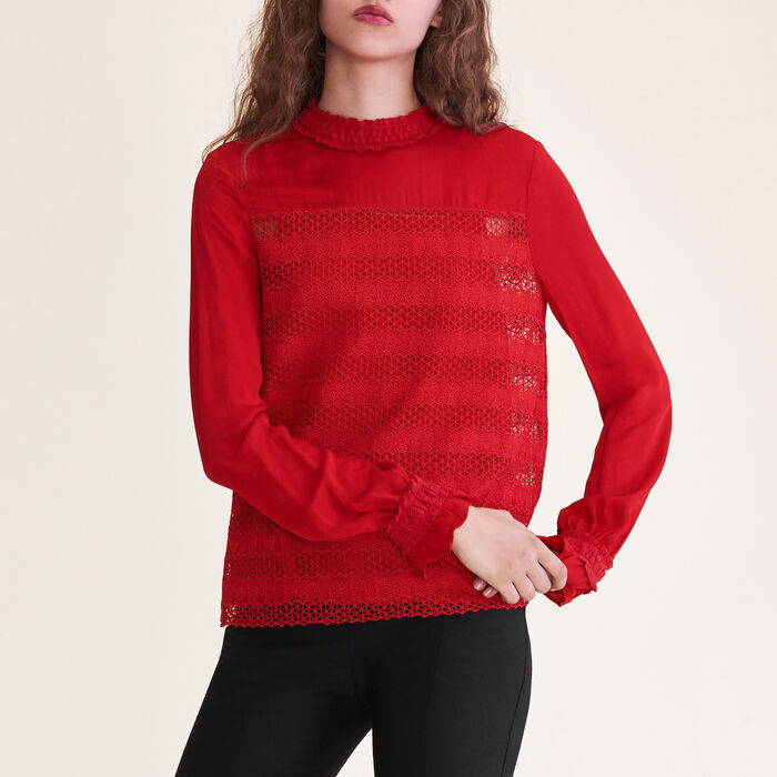 Embroidered top : Tops & T-Shirts color Red