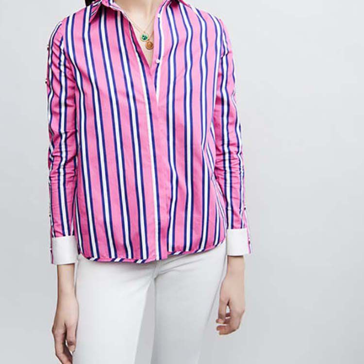 Striped cotton shirt with snaps : Tops & Shirts color Stripe