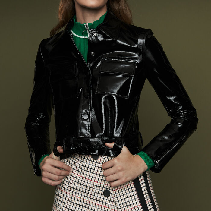 Cropped faux leather jacket : Coats & Jackets color Black 210