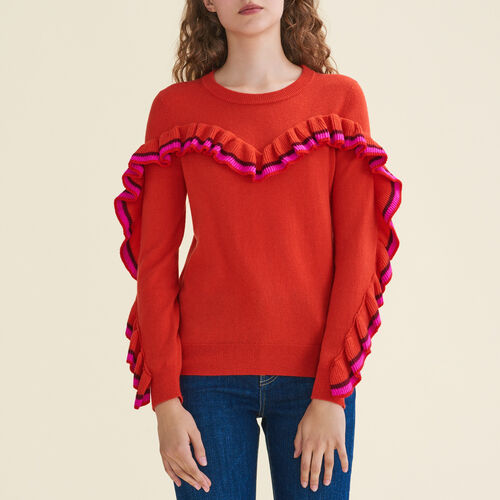 Frilled jumper in wool and cashmere - Sweaters - MAJE