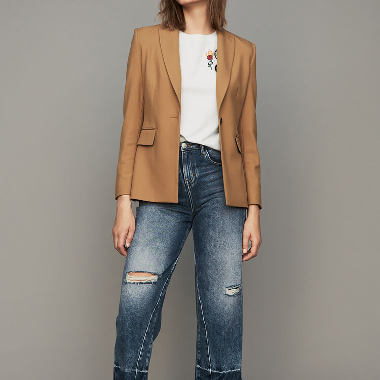 Piped jacket : Coats & Jackets color Camel
