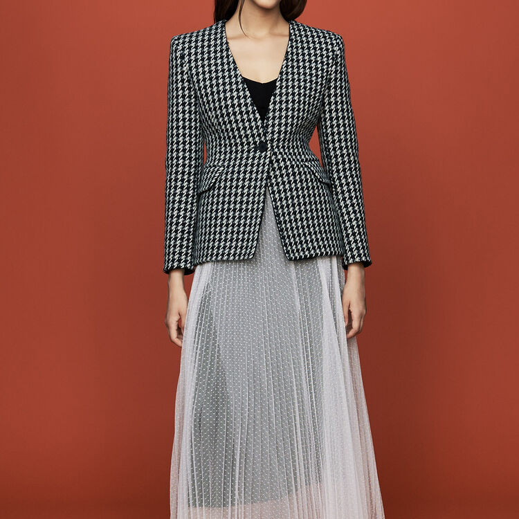 Wool houndstooth jacket : Coats & Jackets color Jacquard