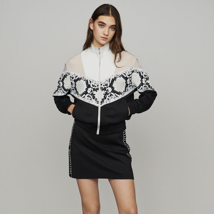 Zipped sweatshirt with python print band : Sweaters color Printed