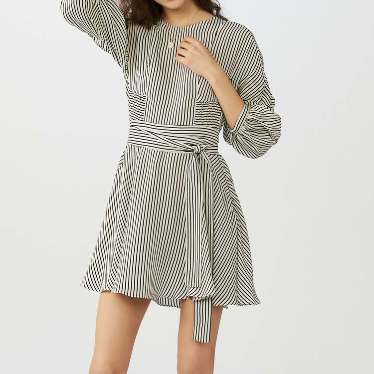 Striped dress with smocked waist : Dresses color Stripe