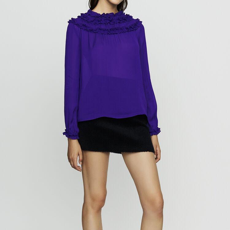 Crepe top with ruffles : Tops & Shirts color Purple