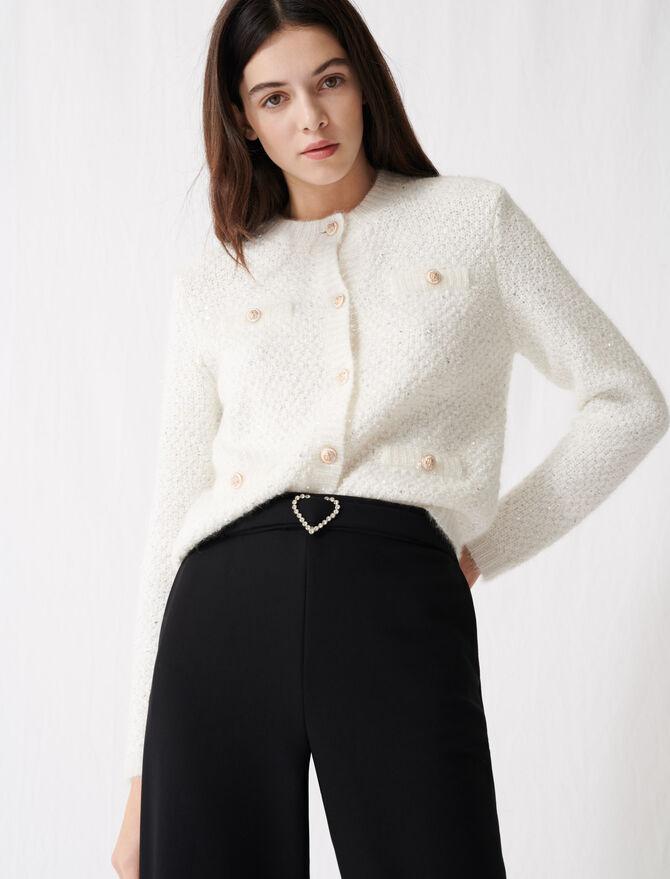 Cream cardigan with lurex threads - The Essentials - MAJE