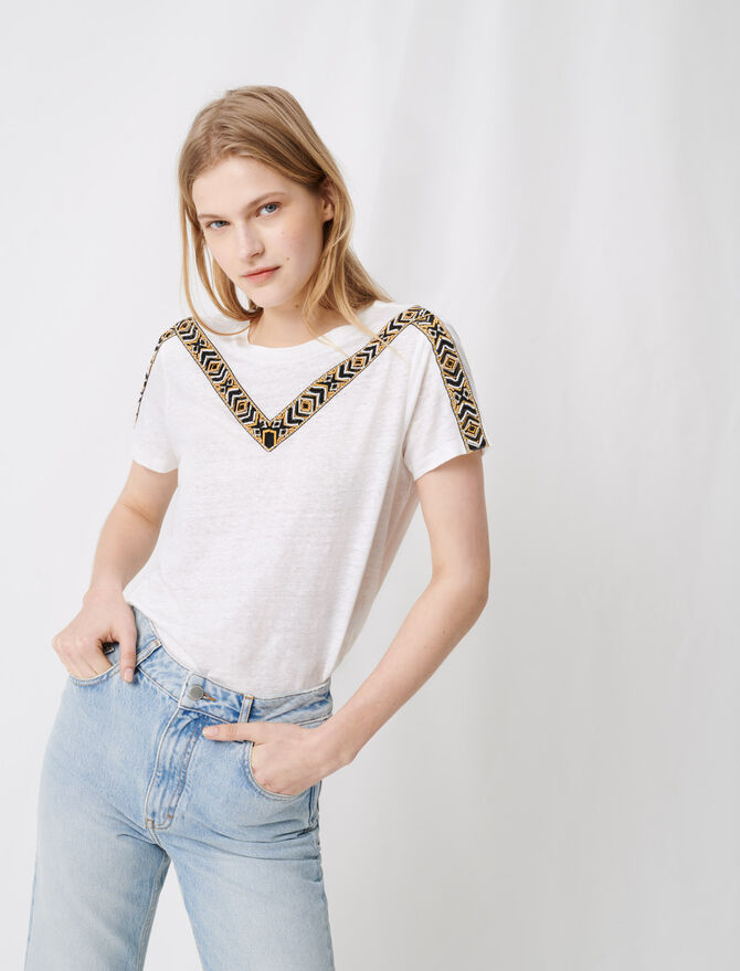 White t-shirt with tied black - Tops & Shirts - MAJE