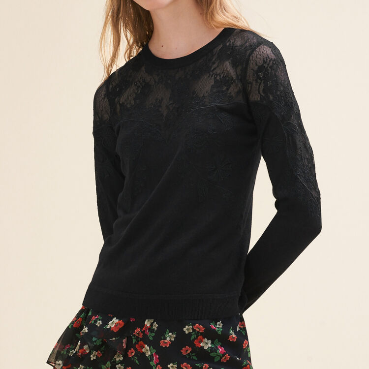 Fine jumper with lace and embroidery : null color
